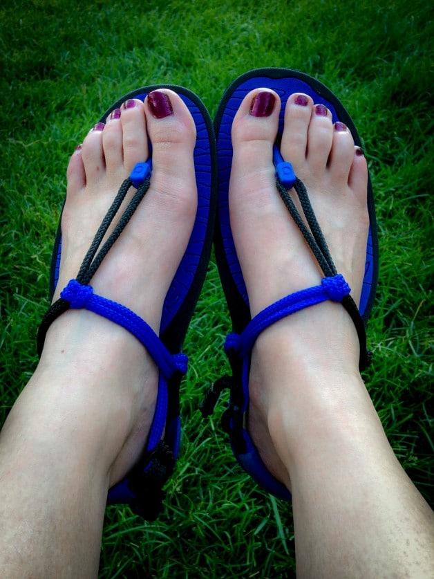 Royal blue Amuri Cloud sandals bring other epochs to mind